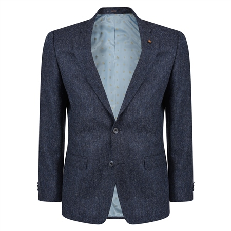 Blue Herringbone Donegal Tweed Classic Fit Jacket  - Click to view a larger image