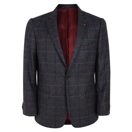 Grey Check Donegal Tweed Classic Fit Jacket  - Click to view a larger image
