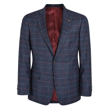 Blue Check Donegal Tweed Classic Fit Blazer  - Click to view a larger image