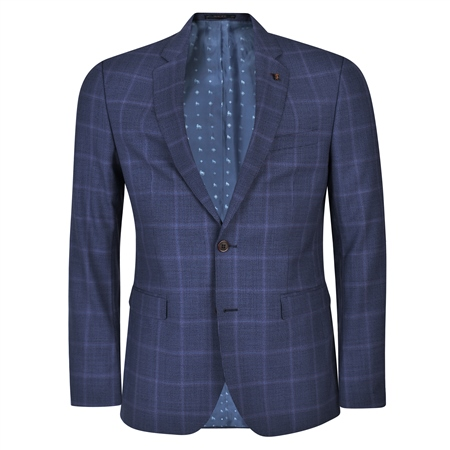 Blue Houndstooth 3-Piece Tailored Fit Suit & Contrast Waistcoat  - Click to view a larger image