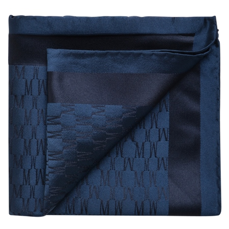 Navy M Design Silk Jacquard Pocket Square  - Click to view a larger image