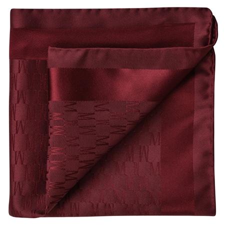 Burgundy M Design Silk Jacquard Pocket Square  - Click to view a larger image