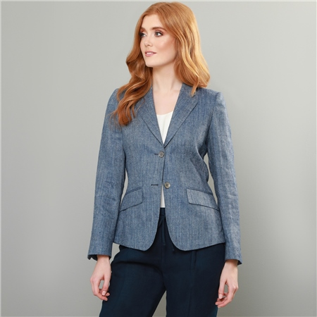 Navy-Blue Alicia Diamond Design Jacket  - Click to view a larger image