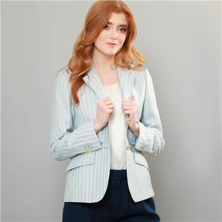 Blue Alicia Pinstripe Linen Blazer  - Click to view a larger image