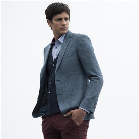 e2173486bb7 Blue Herringbone Donegal Silk & Cotton Tailored Fit Blazer - 38R