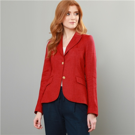 Red Lily Herringbone Linen & Cashmere Blend Blazer  - Click to view a larger image
