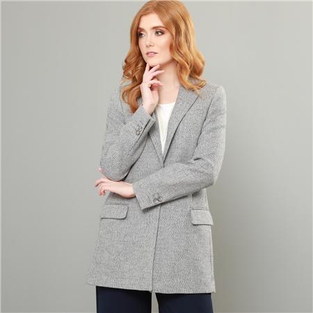 Grey Moyne Herringbone Boyfriend Style Blazer  - Click to view a larger image