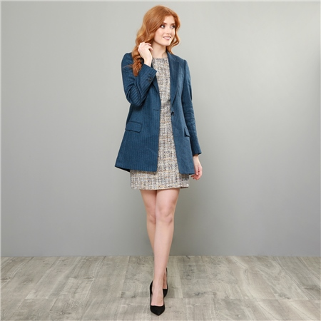 Navy-Blue Moyne Linen Cashmere Blend Boyfriend Style Blazer  - Click to view a larger image