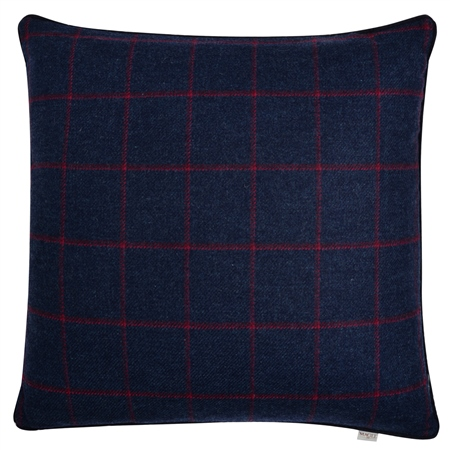"18"" Navy & Raspberry Windowpane Check Donegal Tweed Cushion  - Click to view a larger image"
