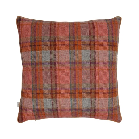 "18"" Orange, Green & Lilac Overcheck Donegal Tweed Cushion  - Click to view a larger image"