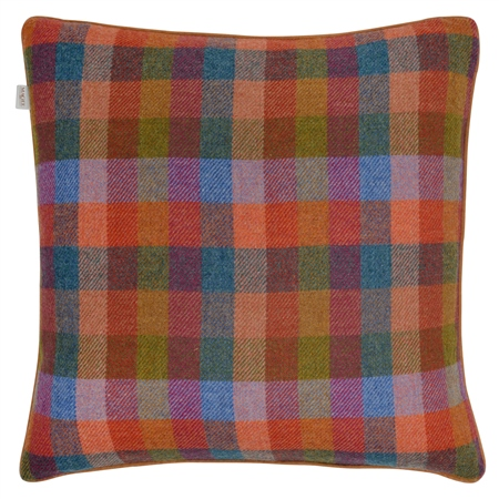 "18"" Multicoloured Check Donegal Tweed Cushion  - Click to view a larger image"
