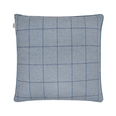 "18"" Sky Blue & Navy Windowpane Check Donegal Tweed Cushion  - Click to view a larger image"