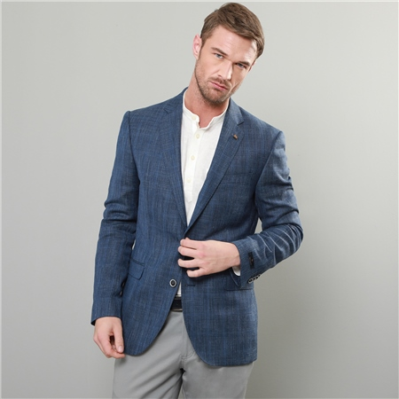 Blue Wool & Linen Check Tailored Fit Blazer  - Click to view a larger image
