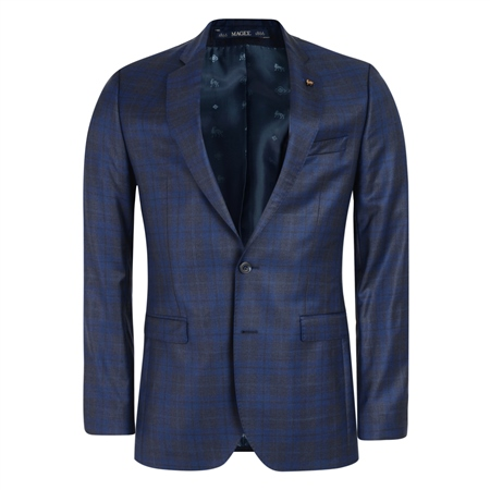 Navy, Blue & Grey Checked 3-Piece Tailored Fit Suit   - Click to view a larger image