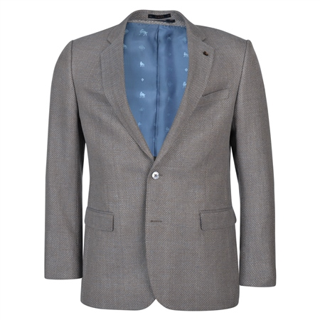 Oat & Blue Basket Weave Classic Fit Blazer  - Click to view a larger image