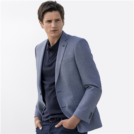 Blue & Navy Micro Design Spring Weight Classic Fit Blazer  - Click to view a larger image