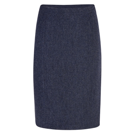 Navy Micro-Design Donegal Tweed Skirt  - Click to view a larger image