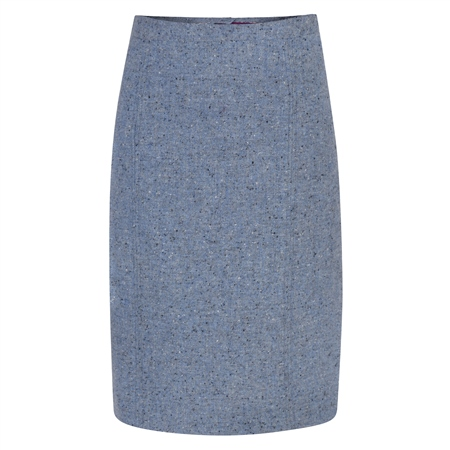 Pale Blue Salt & Pepper Donegal Tweed Skirt  - Click to view a larger image