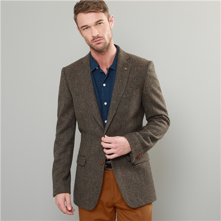 Green & Brown Handwoven Donegal Tweed Classic Fit Blazer  - Click to view a larger image