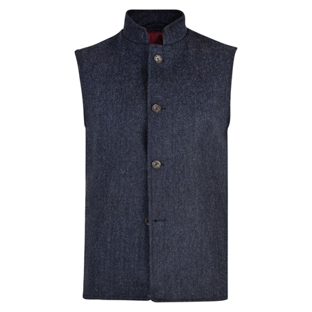 Blue Herringbone Donegal Tweed Gilet  - Click to view a larger image
