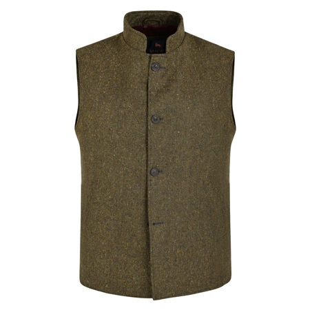 Green Salt & Pepper Donegal Tweed Gilet  - Click to view a larger image