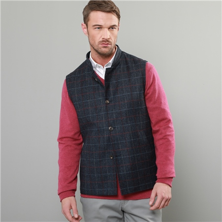 Blue Check Donegal Tweed Gilet   - Click to view a larger image