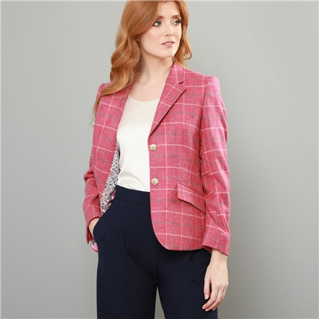 Pink Alicia Checked Donegal Tweed Jacket  - Click to view a larger image