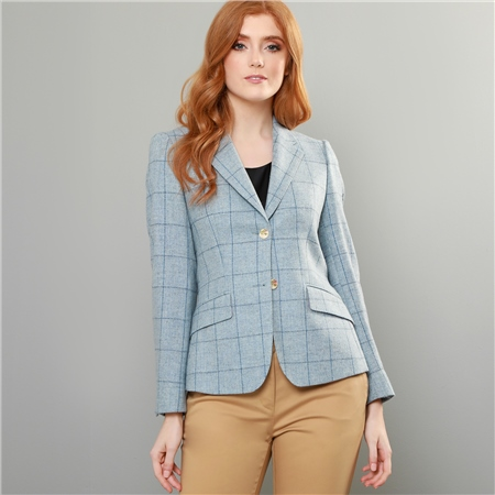 Blue Alicia Check Donegal Tweed Jacket   - Click to view a larger image