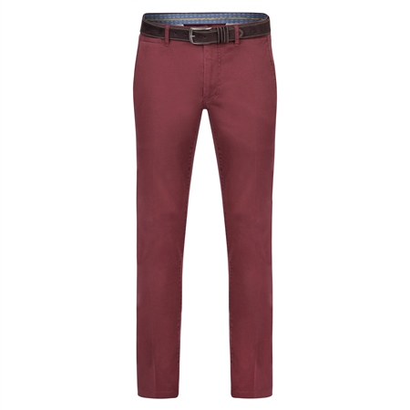 Maroon Callan Washed Tailored Fit Trousers  - Click to view a larger image
