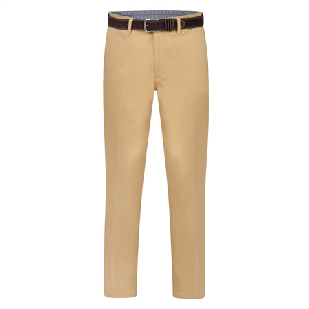Beige Dungloe Mill-Washed Classic Fit Trouser  - Click to view a larger image