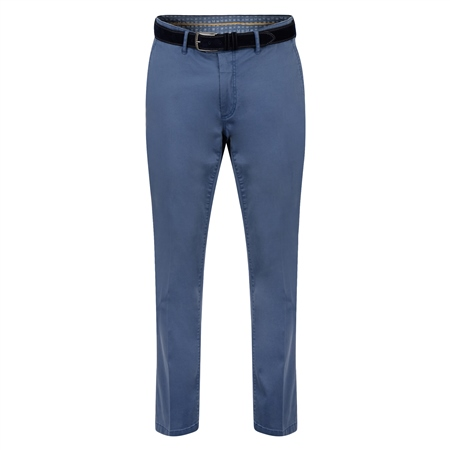 Blue Dungloe Washed Look Classic Fit Trouser  - Click to view a larger image