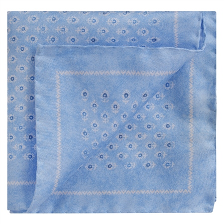 Pale Blue Flower Print Silk Pocket Square  - Click to view a larger image