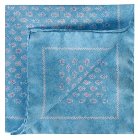 Aqua Flower Print Silk Pocket Square  - Click to view a larger image
