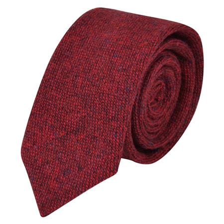 Red Salt & Pepper Donegal Tweed Tie  - Click to view a larger image