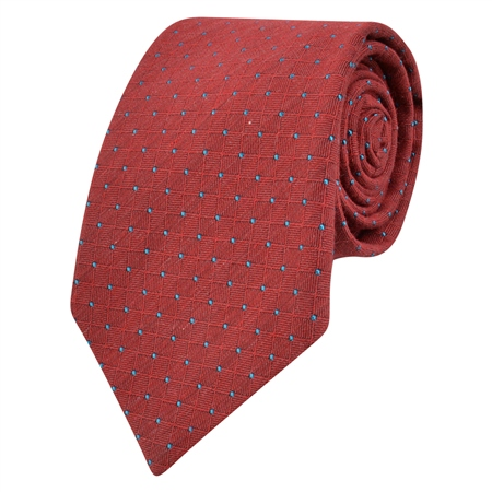 Red & Blue Spotted Woven Tie  - Click to view a larger image