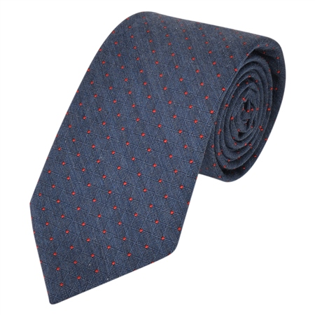Navy & Red Spotted Woven Tie  - Click to view a larger image