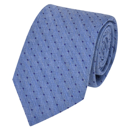 Blue Spotted Woven Tie  - Click to view a larger image