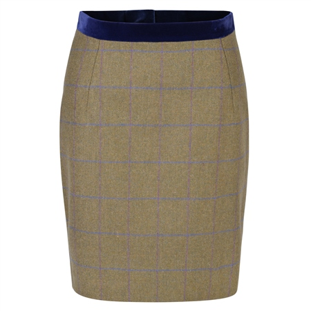 Green Carey Country Check Tweed Tailored Fit Skirt  - Click to view a larger image