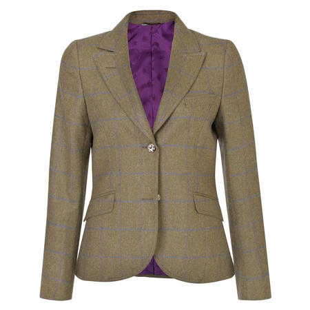 Green Lily Country Check Tweed Tailored Fit Jacket  - Click to view a larger image
