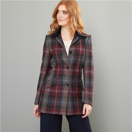 Burgundy, Blue & Pink Linsford Patchwork Check Donegal Tweed Coat  - Click to view a larger image