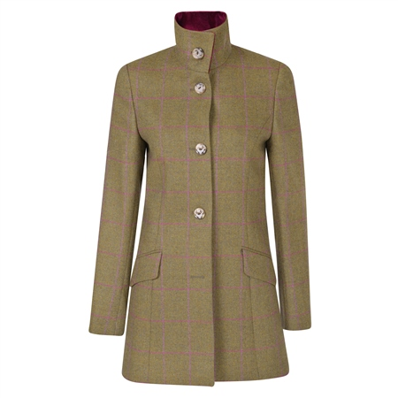 Mossy Brown Linsfort Check Country Tweed Coat  - Click to view a larger image