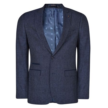 Navy Geometric Trend Tailored Fit Blazer  - Click to view a larger image