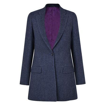 Navy Moyne Micro-Design Donegal Tweed Boyfriend Style Blazer  - Click to view a larger image