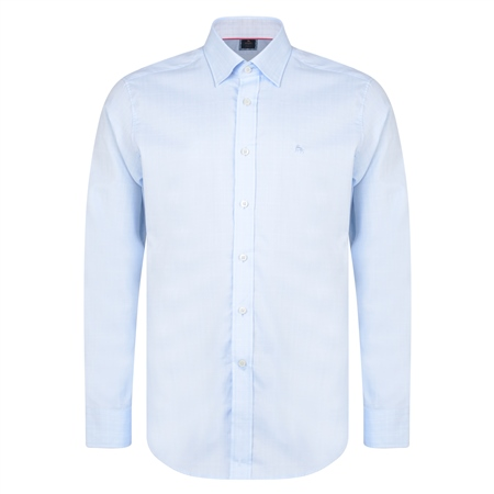 Blue & White Balbane Gridcheck Concealed Button Down Classic Fit Shirt  - Click to view a larger image