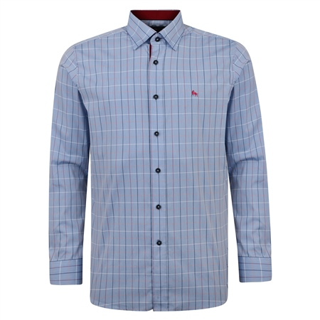 Blue Balbane Checked Concealed Button Down Classic Fit Shirt  - Click to view a larger image