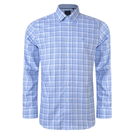 Blue & White Balbane Checked Concealed Button Down Classic Fit Shirt  - Click to view a larger image