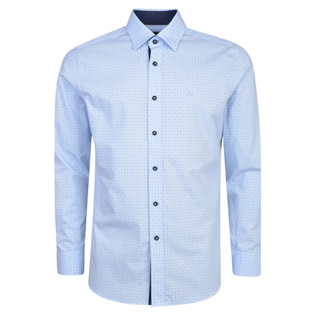 Blue Balbane Concealed Button Down Classic Fit Shirt  - Click to view a larger image