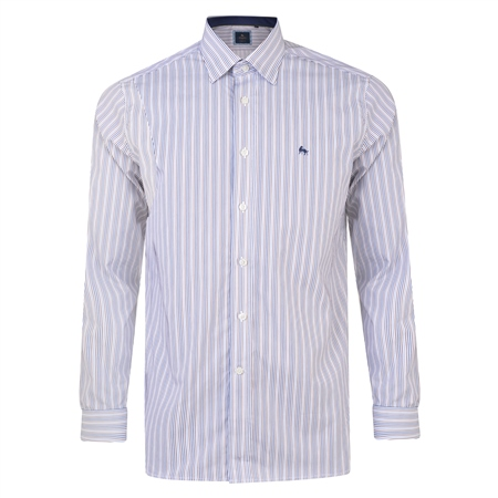 White, Navy & Brown Balbane Striped Concealed Button Down Classic Fit Shirt  - Click to view a larger image