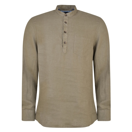 Khaki Corlea Washed Irish Linen Grandfather Classic Fit Shirt  - Click to view a larger image