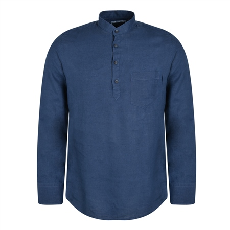 Indigo Corlea Washed Irish Linen Grandfather Classic Fit Shirt  - Click to view a larger image
